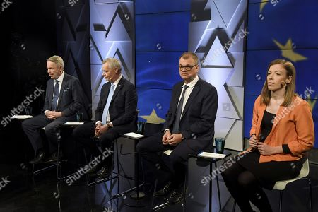 From left, The Green Party chairman Pekka Haavisto, Social Democratic Party chairman Antti Rinne, The Centre Party chairman Juha Sipila and The Left Alliance Party chairman Li Andersson at the party leaders' European Parliament elections debate, arranged by Finnish Broadcasting Company Yle