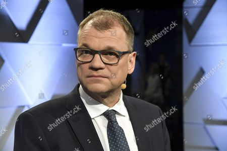 The Centre Party chairman Juha Sipila at the party leaders' European Parliament elections debate, arranged by Finnish Broadcasting Company Yle