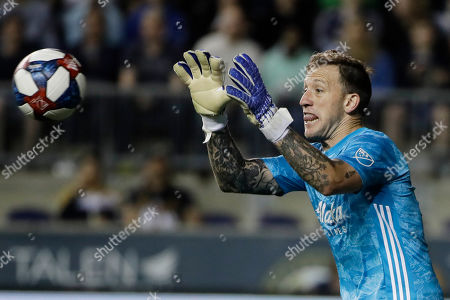 Portland Timbers goalkeeper Steve Clark in action during the second half of an MLS soccer match against the Philadelphia Union in Chester, Pa., . Portland won 3-1