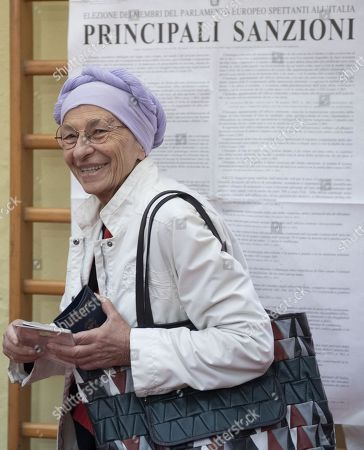 Emma Bonino, leader of the More Europe party, arrives to cast her vote at a polling station during the European elections in Rome, Italy, 26 May 2019. The European Parliament election is being held by member countries of the European Union (EU) from 23 to 26 May 2019.