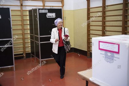 Emma Bonino, leader of the More Europe party, prepares to cast her vote at a polling station during the European elections in Rome, Italy, 26 May 2019. The European Parliament election is being held by member countries of the European Union (EU) from 23 to 26 May 2019.