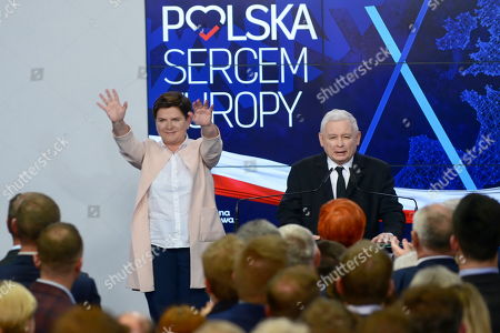Leader of the Polish Law and Justice (PiS) ruling party Jaroslaw Kaczynski (R) and deputy Prime Minister Beata Szydlo (L) react after the announcement of the exit polls of the European elections in Warsaw, Poland, 26 May 2019. The European Parliament election is being held by member countries of the European Union from 23 to 26 May 2019.