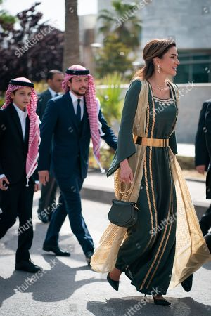 Stock Image of Queen Rania and Crown Prince Al Hussein and Prince Hashem