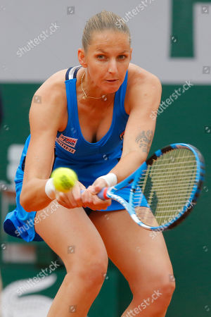 Stock Picture of Krystina Pliskova of the Czech Republic plays a shot against Madison Brengle of the U.S. during their first round match of the French Open tennis tournament at the Roland Garros stadium in Paris