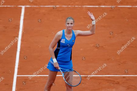 Stock Image of Krystina Pliskova of the Czech Republic celebrates winning against Madison Brengle of the U.S. during their first round match of the French Open tennis tournament at the Roland Garros stadium in Paris