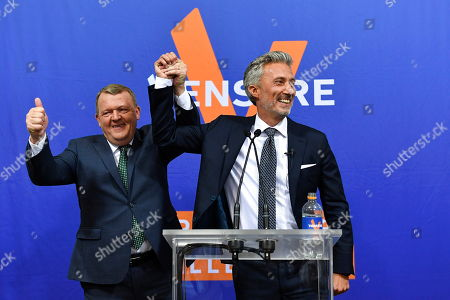 Danish Prime Minister Lars Loekke Rasmussen and the candidate from the Liberal Party Morten Loekkegaard speak during the electoral party at the Liberal Party Hall in Christiansborg in Copenhagen, Denmark, May 26, 2019. The European Parliament election is held by member countries of the European Union (EU) from 23 to 26 May 2019.