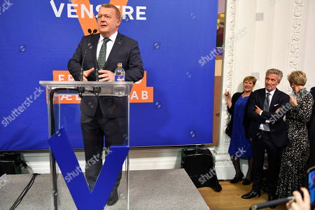Danish Prime Minister Lars Loekke Rasmussen speaks during the electoral party at the Liberal Party Hall in Christiansborg in Copenhagen, Denmark, May 26, 2019. The European Parliament election is held by member countries of the European Union (EU) from 23 to 26 May 2019.