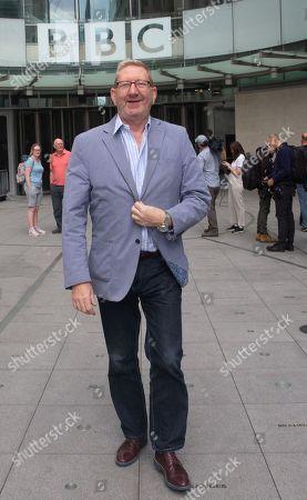 Len McCluskey leaves the BBC Studios.
