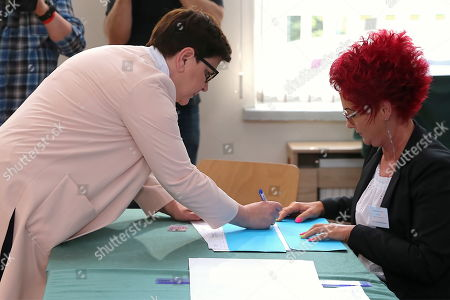 Deputy Polish Prime Minister Beata Szydlo at a polling station during the European elections in Brzeszcze, southern Poland, 26 May 2019. The European Parliament election is being held by member countries of the European Union from 23 to 26 May 2019.