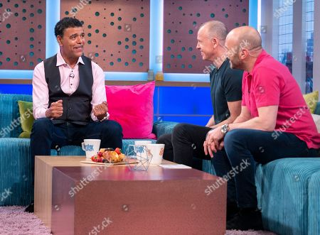 Stock Picture of Chris Kamara, Tim Lovejoy and Simon Rimmer