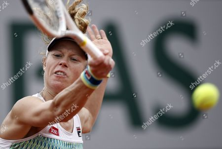 Laura Siegemund of Germany plays Sofya Zhuk of Russia during their women?s first round match during the French Open tennis tournament at Roland Garros in Paris, France, 26 May 2019.