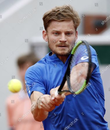 David Goffin of Belgium plays Ricardas Berankis of Lithuania during their men?s first round match during the French Open tennis tournament at Roland Garros in Paris, France, 26 May 2019.