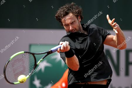 Ernests Gulbis of Latvia plays Casper Ruud of Norway during their men?s first round match during the French Open tennis tournament at Roland Garros in Paris, France, 26 May 2019.