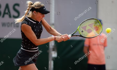 Sofya Zhuk of Russia in action during her first-round match