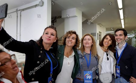 Dolors Montserrat (4-R), Spanish People's Party top candidate for European Parliament, poses for a selfie with supporters at a polling station in Sant Sadurní d'Anoia, Barcelona, Catalonia, Spain, 26 May 2019. Spain holds local, regional and European Parliament elections. The European Parliament election is held by member countries of the European Union (EU) from 23 to 26 May 2019.