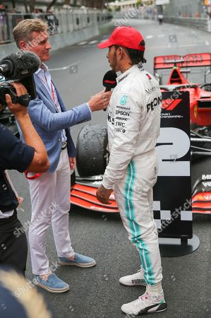 David Coulthard interviews Lewis Hamilton (GBR), Mercedes after winning the race during the Formula 1 2019 Monaco Grand Prix at Circuit de Monaco, Monte Carlo