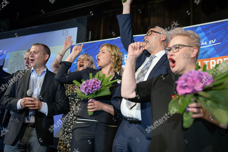 National Coalition Party leader Petteri Orpo (L), party members Henna Virkkunen, Petri Sarvamaa and Sirpa Pietikainen celebrate on stage during the European elections in Helsinki, Finland, 26 May 2019. The European Parliament election is held by member countries of the European Union (EU) from 23 to 26 May 2019.