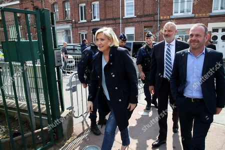Stock Photo of Marine Le Pen and Steeve Briois, Thierry Legier in Henin-Beaumont