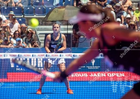 Spanish player Alejandra Salazar (back) in action with Ariana Sanchez against their compatriots Marta Marrero and Marta Ortega in their women's final of the Aliseda Ledus Jaen Padel Open as part of the World Padel Tour in Jaen, southern Spain, 26 May 2019.
