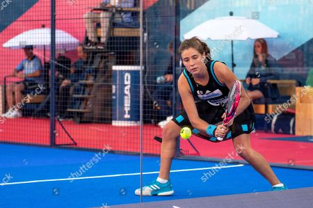 Spanish player Marta Ortega in action with Marta Marrero against their compatriots Alejandra Salazar and Ariana Sanchez in their women's final of the Aliseda Ledus Jaen Padel Open as part of the World Padel Tour in Jaen, southern Spain, 26 May 2019.