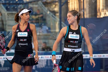 Spanish players Marta Marrero (L) and Marta Ortega (R) react during their women's final against their compatriots Alejandra Salazar and Ariana Sanchez at the Aliseda Ledus Jaen Padel Open as part of the World Padel Tour in Jaen, southern Spain, 26 May 2019.