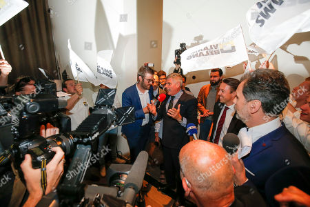 Stock Image of Vlaams Belang's Filip Dewinter arrives at the Vlaams Belang Party in Londerzeel, Belgium, 26 May 2019. The European Parliament election is held by member countries of the European Union (EU) from 23 to 26 May 2019. Belgians also vote for National and Regional elections.