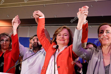 Stock Photo of Nathalie Loiseau, center, head of French president Emmanuel Macron's party list, reacts at the campaign headquarters, in Paris. Exit polls in France indicated that Marine Le Pen's far-right National Rally party came out on top, in an astounding rebuke for French President Emmanuel Macron, who has made EU integration the heart of his presidency