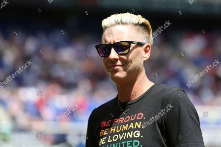 Former United States women's national team player Abby Wambach poses for a photo during a celebration honoring the National Soccer Hall of Fame Class of 2019 at halftime of an international friendly soccer match between the United States and Mexico, in Harrison, N.J. The U.S. won 3-0