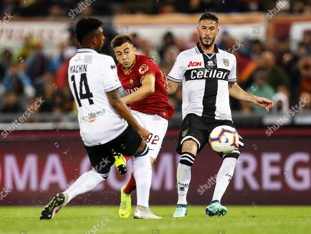 Stock Picture of Roma's Stephan El Shaarawy (C) in action during the Italian Serie A soccer match between AS Roma and Parma Calcio at the Olimpico stadium in Rome, Italy, 26 May 2019.