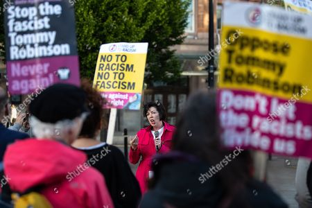 Theresa Griffin MEP addresses a protest crowd of Stand up to Racism supporters