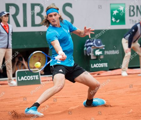Stefanos Tsitsipas (GRE) defeated Maximilian Marterer (GER) 6-2, 7-6(4), at the French Open being played at Roland-Garros in Paris, . ©Karla Kinne/Tennisclix 2019/CSM