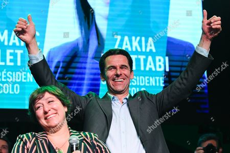 Jean Marc Nollet and Meyrem Almaci at the post-election meeting of the Ecolo-Groen party