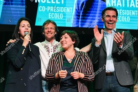 Zakia Khattabi, Jean Marc Nollet, Meyrem Almaci and Patrick Dupriez at the post-election meeting of the Ecolo-Groen party