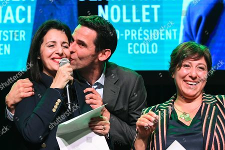 Stock Photo of Zakia Khattabi, Jean Marc Nollet, Meyrem Almaci at the post-election meeting of the Ecolo-Groen party
