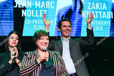 Zakia Khattabi, Jean Marc Nollet and Meyrem Almaci at the post-election meeting of the Ecolo-Groen party