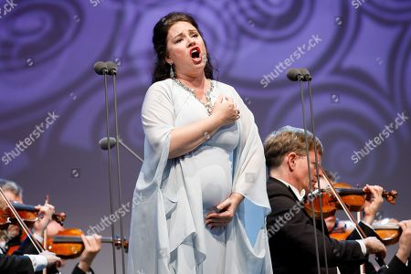 Opera singer Sonya Yoncheva performs onstage during a concert outside the opera house in Vienna, Austria, 26 May 2019. The Jubilee concert outside the opera is free for all and features ensemble singers, international guest artists, the orchestra and chorus of the Wiener Staatsoper under conductor Marco Armiliato.