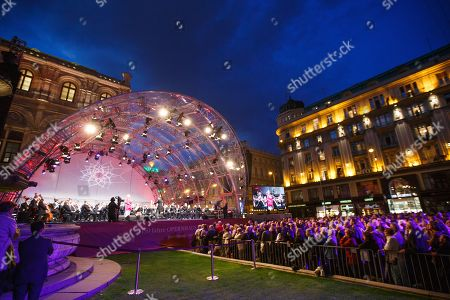 A general view of the stage during a concert outside the opera house in Vienna, Austria, 26 May 2019. The Jubilee concert outside the opera is free for all and features ensemble singers, international guest artists, the orchestra and chorus of the Wiener Staatsoper under conductor Marco Armiliato.