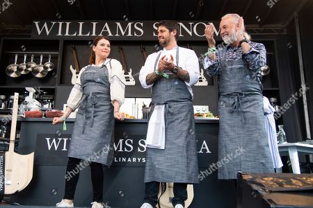 Gail Simmons, Ludo Lefebvre, Hubert Keller. Gail Simmons, from left, Ludo Lefebvre, and Hubert Keller are seen at the BottleRock Napa Valley Music Festival at Napa Valley Expo, in Napa, Calif
