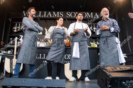 Stock Picture of Eric McCormack, Gail Simmons, Ludo Lefebvre, Hubert Keller. Eric McCormack, from left, Gail Simmons, Ludo Lefebvre, and Hubert Keller are seen at the BottleRock Napa Valley Music Festival at Napa Valley Expo, in Napa, Calif