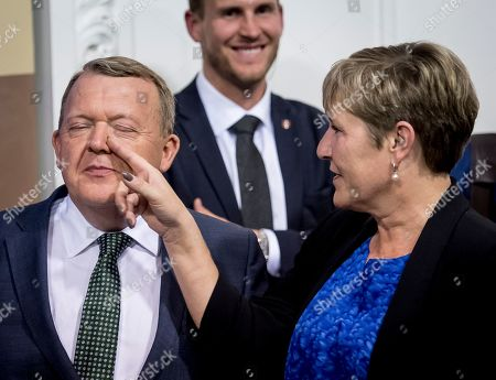 Danish Prime Minister Lars Loekke Rasmussen, and his wife, Solrun Loekke Rasmussen during the European Parliament elections 2019 election party at Christiansborg in Copenhagen, Denmark, 26 May 2019. The European Parliament election was held by member countries of the European Union (EU) from 23 to 26 May 2019.