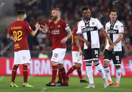 Stephan El Shaarawy and Daniele De Rossi of Roma during the Serie A match AS Roma vs Parma played at the Olimpico Stadium