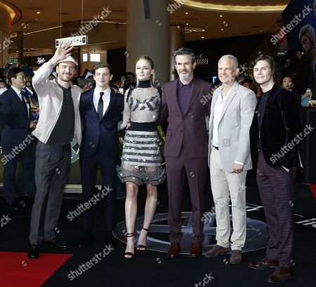Michael Fassbender, Tye Sheridan, Sophie Turner, director Simon Kinberg, Producer Hutch Parker and Evan Peters arrive for the premiere of X-Man: Dark Phoenix at Lotte World Tower Special Outdoor Stage in Seoul, South Korea, 27 May 2019. The movie will open in South Korean theaters on 05 June 2019.