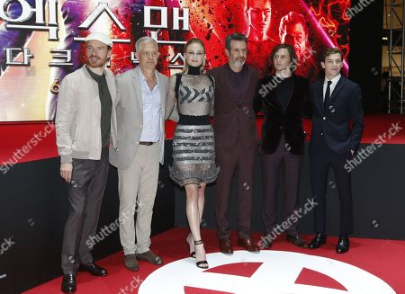 Michael Fassbender, Producer Hutch Parker, Sophie Turner, director Simon Kinberg, Evan Peters and Tye Sheridan arrive for the premiere of X-Man: Dark Phoenix at Lotte World Tower Special Outdoor Stage in Seoul, South Korea, 27 May 2019. The movie will open in South Korean theaters on 05 June 2019.