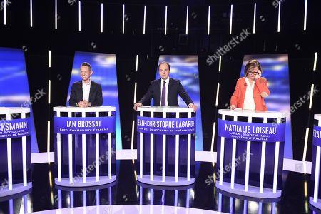 Ian Brossat of the Communist party (Parti Communiste), Jean-Christophe Lagarde of UDI centrist party (Union des democrates and independants), Nathalie Loiseau of La Republique En Marche (LREM)