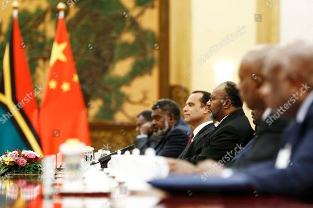 Vanuatu Prime Minister Charlot Salwai (3-L) attends a meeting with Chinese Premier Li Keqiang (not pictured) at the Great Hall of the People in Beijing, China, 27 May 2019.