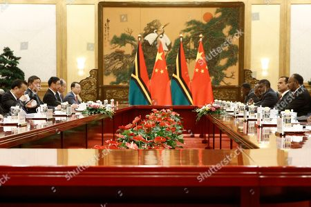 Vanuatu Prime Minister Charlot Salwai, right, and Chinese Premier Li Keqiang, left, attend a meeting at the Great Hall of the People in Beijing, China