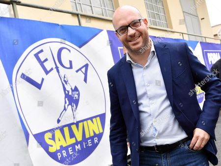 Family Minister Lorenzo Fontana upon his arrival at the League Party headquaters in Milan, Italy, 27 May 2019. The European Parliament election was held by member countries of the European Union (EU) from 23 to 26 May 2019.