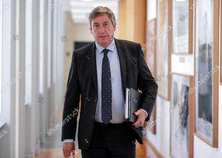 NVA's Jan Jambon arrives for a party bureau of conservative Flemish nationalist party N-VA in Brussels, Belgium, 27 May 2019. The meeting takes place after 26 May's regional, federal and European elections.