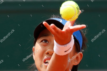 China's Zhang Shuai serves against Varvara Lepchenko of the U.S. during their first round match of the French Open tennis tournament at the Roland Garros stadium in Paris