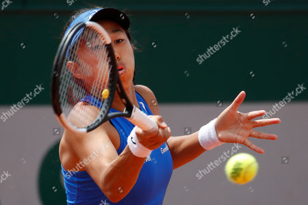 China's Zhang Shuai plays a shot against Varvara Lepchenko of the U.S. during their first round match of the French Open tennis tournament at the Roland Garros stadium in Paris